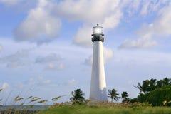 Phare dans le coucher du soleil de Key Biscayne la Floride Image stock