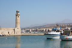 Phare dans Rethymno, Crète Images libres de droits
