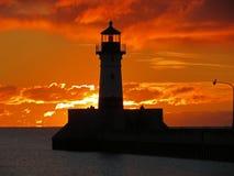 Phare de balise de lever de soleil Image stock