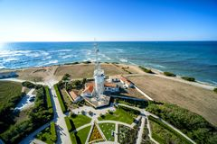 Phare de Chassiron.The Radar tower. Island D`Oleron in the French Charente with striped lighthouse. France. The lighthouse Chassiron, perched on a rocky cliff royalty free stock photo