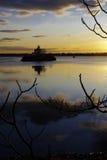 Phare de coucher du soleil de RI Images libres de droits