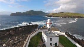 Phare de Cromwell Valentia Island l'irlande banque de vidéos
