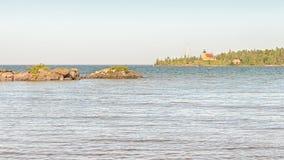 Phare de cuivre de port, le lac Supérieur, MI photos stock