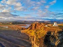 Phare de Dyrholaey Vik l'islande image libre de droits