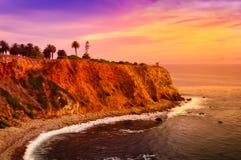 Phare de Fermin de point au coucher du soleil Image libre de droits