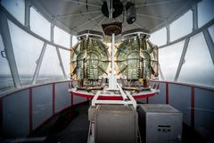 Phare de Gatteville lighthouse, Lighthouse lens. Barfleur, Basse Normandy, France. The Gatteville lighthouse, or Gatteville-Barfleur lighthouse, is located at royalty free stock photos
