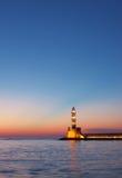 phare de hania de crépuscule Photo stock
