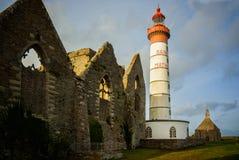 Phare de Helgon Mathieu, Plougonvelin, Finistere, Brittany, Frankrike Arkivbilder