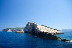 Phare de l'Europe de voyage en mer de ciel bleu de nature d'été de Leucade Grèce Photographie stock