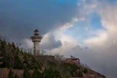 Phare de la colline de Danya de province de Penglai, Shandong Images libres de droits