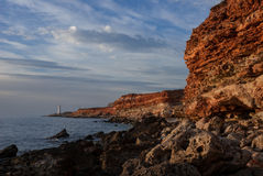 Phare de la Mer Noire Crimée de plage Image stock