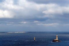 Phare de la vieille, phare dans la côte de la Bretagne Photos stock