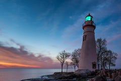 Phare de Marblehead en Ohio à l'aube Photos libres de droits