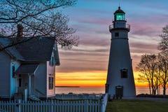 Phare de Marblehead en Ohio à l'aube Photographie stock libre de droits