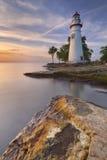 Phare de Marblehead sur le lac Érié, Etats-Unis au lever de soleil Image stock