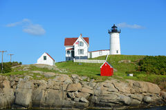 Phare de Neddick de cap, vieux village de York, Maine Photographie stock
