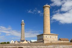 Phare de Penmarc`h. The Penmarc`h and the Eckmühl lighthouses Phare d`Eckmühl, aka Point Penmarc`h Light or Saint-Pierre Light, in summer with a blue sky royalty free stock photos