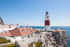 Phare de point d'Europa sur le Gibraltar Image stock