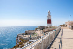 Phare de point d'Europa sur le Gibraltar Photographie stock