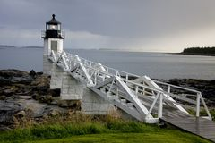 Phare de point de Marshall, Maine, Etats-Unis Image libre de droits