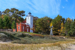 Phare de point de 40 milles sur le lac Huron Photographie stock
