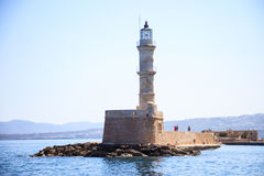 Phare de port de la Grèce, Crète - de Chania Photo libre de droits