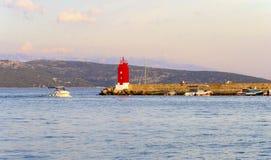 Phare de ville de Krk, Croatie images libres de droits