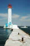 Phare de Vorontsov dans le port d'Odessa, Ukraine images stock