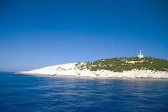 Phare de voyage de l'Europe de mer de ciel bleu de nature de la Grèce Leucade Images libres de droits