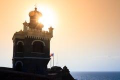 Phare Del Morro de coucher du soleil Image stock