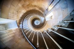 Phare des Baleines, Isle du Re, France. Internal staircase. The lighthouse owes its name to the fact that a relatively large number of whales had washed up at royalty free stock images