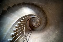 Phare des Baleines, Isle du Re, France. Internal staircase. royalty free stock photography