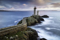 Phare du Petit Minou at sunset. One of the most incredible phare of the entire Brittany: Le Phare du Petit Minou Royalty Free Stock Image