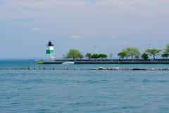 Phare du sud-est de Guidewall de port de Chicago Photos stock