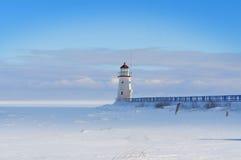 Phare en hiver images libres de droits