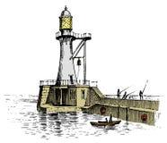 Phare et mer Croquis marin, voyage nautique et paysage marin Allumage dans l'océan vintage gravé, tiré par la main illustration stock