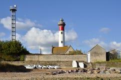 Phare et plage d'Ouistreham dans les Frances Photographie stock libre de droits