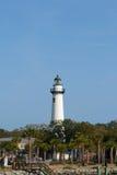 Phare historique situé sur l'île de rue Simons Photo stock
