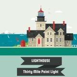 Phare Lumière de point de trente milles Le phare sur la roche lapide le fond de vecteur de bande dessinée d'île Illustration de v Photo libre de droits