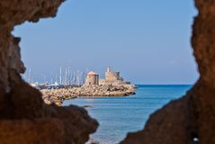 Phare m?di?val de Rhodes Landmark The images stock