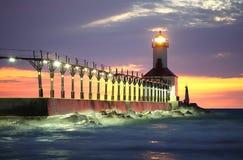 phare Michigan de l'Indiana de ville photographie stock libre de droits