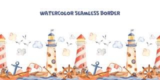 Phare mignon de frontière d'aquarelle de bande dessinée sans couture d'enfants, bateau, ancre illustration libre de droits