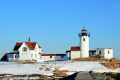 Phare oriental de point, cap Ann, le Massachusetts Photo stock