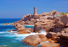 Phare, Ploumanach, Brittany Photo libre de droits