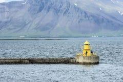 Phare Reykjavik de pêcheur à la ligne Photos libres de droits