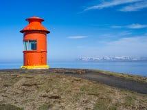 Phare Stykkish, bateaux de Snafellsnes le long du pilier Photo libre de droits