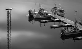 Phare Stykkish, bateaux de Snafellsnes le long du pilier Photographie stock