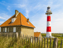 Phare sur la côte de la Mer du Nord Images libres de droits