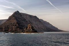 Phare sur la falaise, Lanzarote, Îles Canaries Image libre de droits