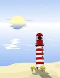 Phare sur la plage Images libres de droits